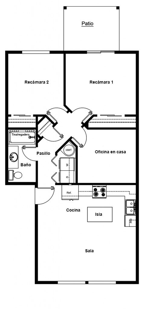 Planos de Apartamento de 2 recámara